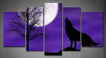 BANMU 5 Panels Blue Howling Wolf In A Dark And Cloudy Night With Moon Blue Blue Painting Picture Print On Canvas Animal Pictures