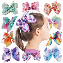 Fashion Girl Grosgrain Ribbon Hair Bows With Alligator Clips Cartoon Boutique Rainbows Hairbow Hairclip 6 inches bows 2Pcs/lot