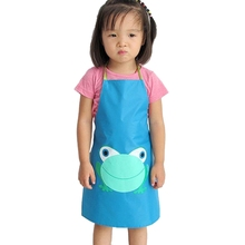Newly Kid Children Lovely Waterproof Apron Cartoon Frog For Boy Girl Painting Cooking, L Blue