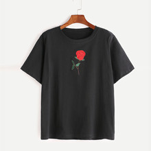 Feitong harajuku Summer T Shirts Women Embroidery Rose Short Sleeve O Neck Tee Shirt Tops vetement femme camisetas mujer 2017