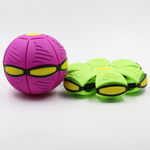 Creative Magic Vent Flying Saucer Ball Deformation UFO Frisbee Plastic Ball With LED Light Elastic Vent Ball Gift For Kids
