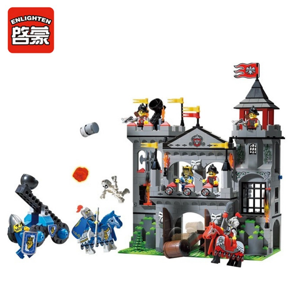 Enlighten Building Block Castle Knights Sliver Hawk Eagle Castle 7 Figures 568pcs Educational Bricks Toy Boy Gift<br>