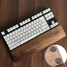 Keyboard Anti-skid Pad Wooden Wrist Rest Pad Natural Black Walnut Wood Rest Protection Hand Pad for 60 Key For Gaming Keyboard