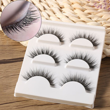 3 Pairs Black 100% Real Mink Natural Cross Long Thick Eye Lashes False Eyelashes Makeup Extension Tools