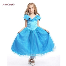 AcxOneFr Cinderella princess dresses girl children's Holiday clothing long paragraph Cosplay dress for hight 100-150cm WL7-141(China)