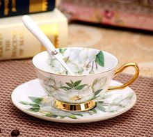 180 ml Noble Style Ceramic Flower Tea Cup Set Bone China tableware florals gilded Coffee  tea Cups