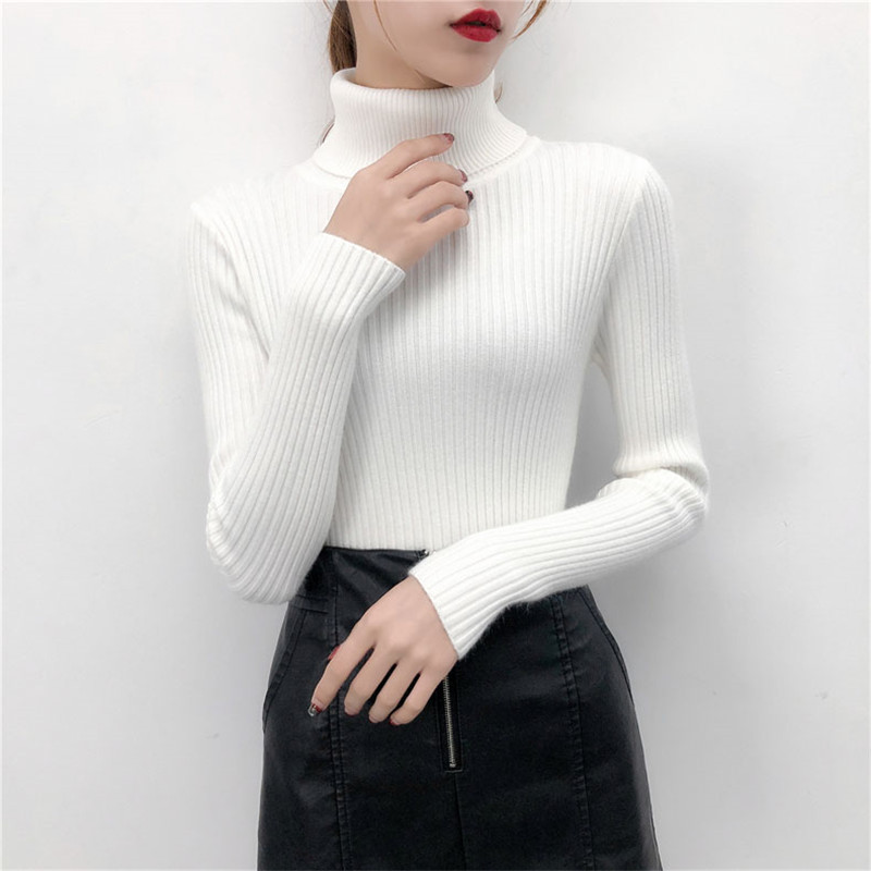 19 Women Sweater casual solid turtleneck female pullover full sleeve warm soft spring autumn winter knitted cotton 14