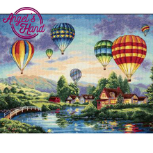 ANGEL'S HAND 5D DIY Diamond Painting hot air balloon Crystal Diamond Painting Cross Stitch Landscape Needlework Home Decorative(China)