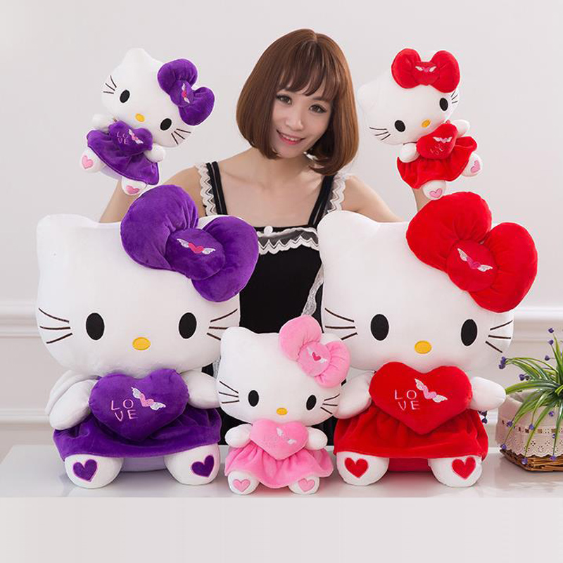 CXZYKING New KT Cat Hello Kitty Stuff Plush 28CM Toys Kawaii Hello Kitty Doll Peluche Pillow Gifts For Kids Baby Girl Gifts(China (Mainland))