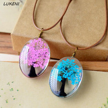 1Pcs/set Handmade Natural Dry Flowers Life Tree Long Necklaces Pendants For Women Casual Girlfriend Gift Creative Jewelry(China)
