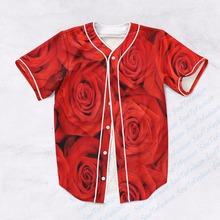 2 Colors Real AMERICAN USA Size Red Roses Turquoise Roses Custom made  Fashion 3D Sublimation Print  Baseball Jersey Plus Size