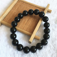 10mm black onyx natural stone stretch men bracelet elastic pulserase jewelry beads smooth charms expandable fashion hombres
