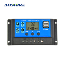 Aoshike Solar Charge Controller 12V 24V 30A Automatic Solar Panel Controller Universal USB 5V Charging LCD Display(China)