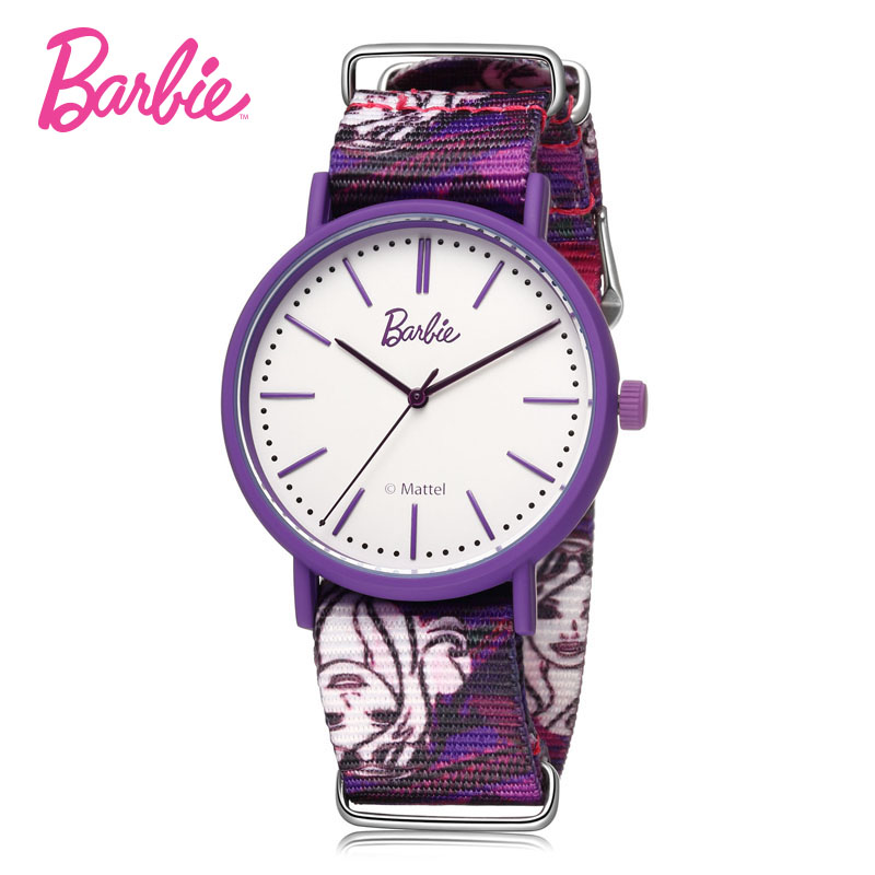 Barbie colorful woman watches fashionable round shape case Bright colors band hook buckle quartz watch for woman gift<br>