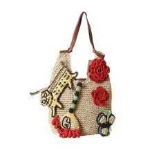 Flower Designer Beach Bags Handmade Handbags Straw Bag Summer Bohemia Holiday Shoulder Bags for Women Totes Shopping Bag L1076