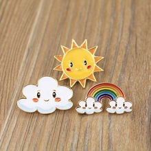free shipping 12pcs/ lot  costume jewellery accessories metal enamel sun cloud rainbow badge button pin
