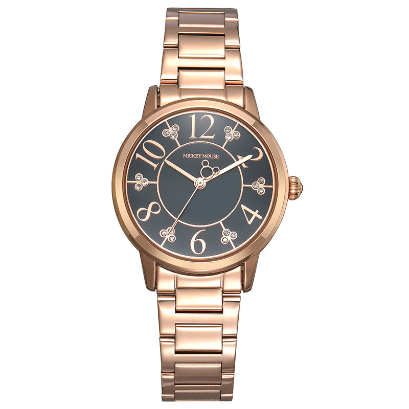 Disney Simple rose gold stainless steel watch for woman Mickey mouse number quartz clocks ladies diamond waterproof wristwatch<br>