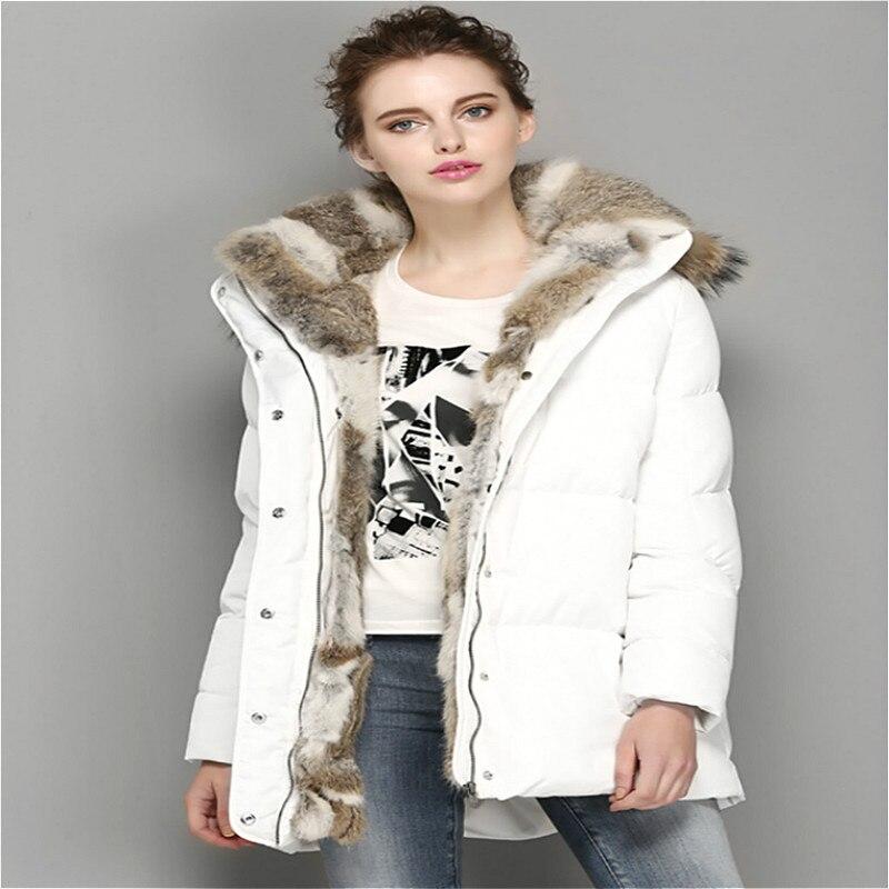 Winter Jacket Women 2016 Cotton Parkas Real Fur Hooded Fur Parkas Female Thicken Warm Outwear Medium-long Jacket Best Quality