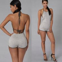 Women Sports Wearing Suits Yoga Exercise Sets Sexy Hanging Neck Slim Sleeveless Jumpsuits Sexy Hollow Out Printed Jumpsuits