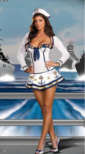 free shipping   Sexy Sailor Girl Adult Ladies Fancy Dress Costume Sailor Uniform Navy Costume&Hat size s-xl