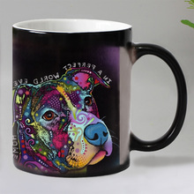 11OZ Colorful printed Heat Reveal Coffee mug Ceramic Color changing Magic Mugs tea cups Christmas gift for dog lover