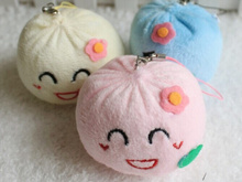 20PCS 5CM Cute China Dumpling Plush Stuffed TOY DOLL ; Phone Strap Charm DOLL Pendant TOY Wedding Gift CAR TOY DOLL