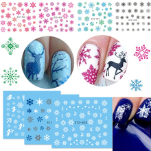 1 Sheets 2017 Xmas Sticker for Nail Decals Snow Flower Deer Beauty DIY Watermark Nail Art Christmas New Year Decor CHSTZ419-439(China)
