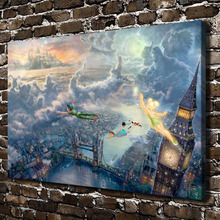 H1223 Thomas Kinkade  Fly To Neverland, HD Canvas Print Home decoration Living Room bedroom Wall pictures Art painting