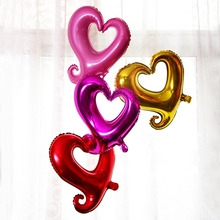 2pcs Marriage Heart Shaped Hollow Hook flowers Bend Tail Foil Balloons Wedding Birthday Party Decorative Inflatable Air Balloon
