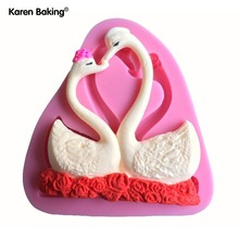 Two Pieces Beautiful Swan Shape Fondant 3D Silicone Mold, Candle Moulds, Sugar Craft Tools, Chocolate Moulds, Bake Ware C214(China)