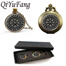 1set/lot Norse Viking Cross in Rune Circle pendant jewelry Glass Cabochon Necklace pocket watch with free box glass dome charms(China)