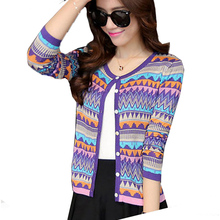 2016 Knitted Cardigans Women Striped Vintage Woman Jackets Tops Casual  Coats Tunics Mujer Feminino Purple jaqueta femme W009