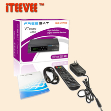 50PCS Satelite receiver Freesat V7 ATSC Combo + USB WiFi DVB-S2 Support powervu cccam biss for Mexico Canada USA North America