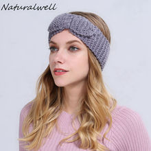 Naturalwell Crochet Bow Headband Ear Warmer Knit Hair Bow Womens Retro Bow Headband Cozy Crochet Bow Adult Winter Headband WH063
