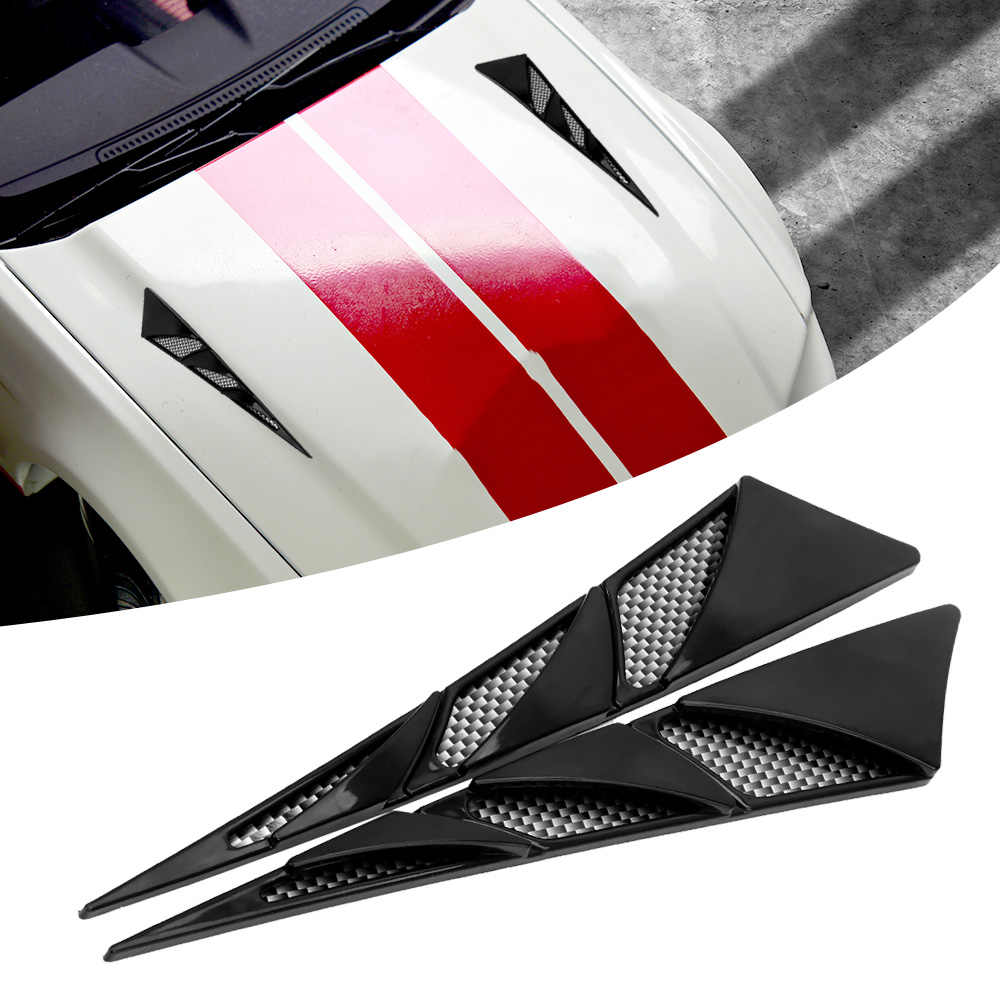 LEEPEE 1 Pair Car Exterior Decoration Car Hood Stickers Black Universal Side Air Intake Flow Vent Cover Decorative Car-styling