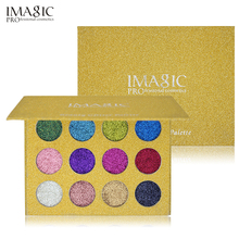 IMAGIC Glitter Eyeshadow Make Up Cosmetic Magnet Palette 12 Color Diamond Glitter Highly Pigmented Eyeshadow Make Up Palette