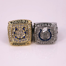 2pcs/set US size factory wholesale price 2006 2009 Indianapolis Colts championship ring replica solid ring drop shipping(China)