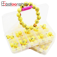 50pcs/box 12mm Emoji String Beads DIY Toy Early Educational Creativity Acrylic Kids Boys Girls Bracelet Toys With 2M String
