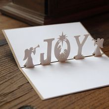 10pcs Christmas Angel 3D nativity handmade decoration pop up paper laser cut greeting cards crafts kirigami Christmas cards 9024
