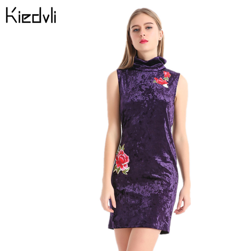 Spring Women Mini Sleeveless Embroidery Floral Brushed Turtleneck Velvet Dress Costumes Elegant Vintage Women's Clothing F0949(China (Mainland))