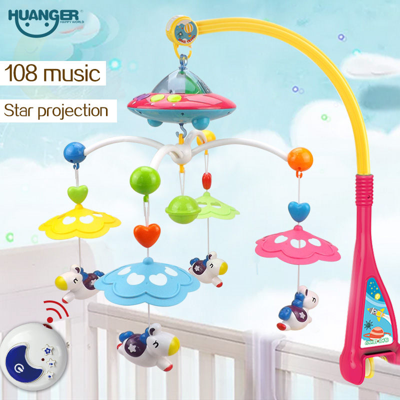 Huanger Musical Crib Mobile Bed Bell Baby Rattle Rotating Bracket Projecting Toys for 0-12 Months Newborn Kids Christening gift(China (Mainland))