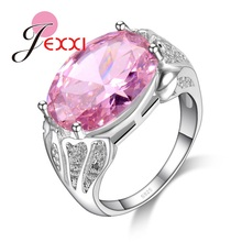 JEXXI Hot 925 Sterling Silver Bridal Wedding Accessories Finger Ring Oval Cut Pink Cubic Zirconia Crystal Band Rings Bijoux