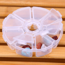 1Pcs 8 Slots Jewelry Beads Container Storage Box Case Organizer Display Jewelry Findings Makeup Clear Round Rangement Maquillage(China)