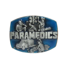 Free shipping clothing men belt buckle metal cowboy designer PARAMEDICS blue logo DIY clothes fashion belt buckle(China)