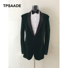 2017 Dark Green Mens Suits Groom Tuxedos Shawl Lapel Groomsmen Wedding Party Suits Best Man Suits Blazer (Jacket+Pants+BowTie)(China)