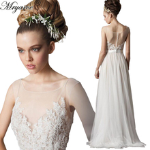 Real Picture Scoop Neckline Exquisite Lace Appliqued Flowy Tulle Rustic Wedding Bridal Dress A line abito da sposa