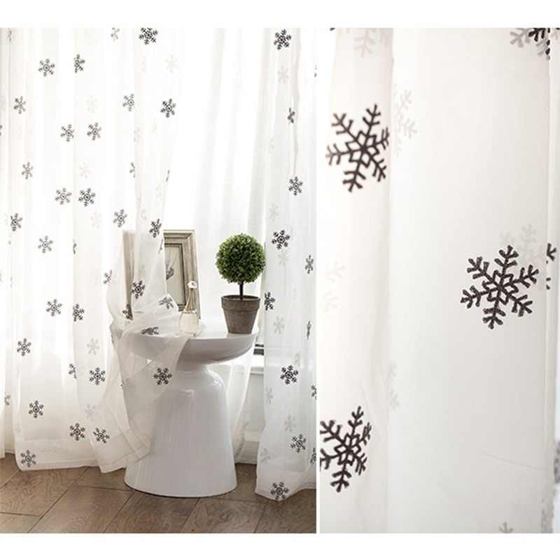 Grey Snowflake Embroidery Curtain White Tulle Curtains for Living Room Bedroom Balcony Kitchen Short Curtain Winter Drape  P1574