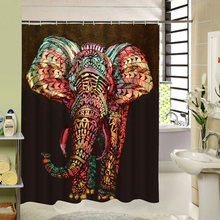 3d Printing Fabric Elephant Shower Curtain Black Decorative Curtain Waterproof Mildewproof for Window /wet Room Kids Gift
