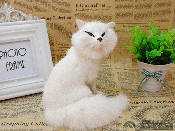 simulation white fox model,polyethylene&amp; fur 16x15cm squatting fox handicraft toy,prop,home Decoration,Xmas gift b3718<br><br>Aliexpress