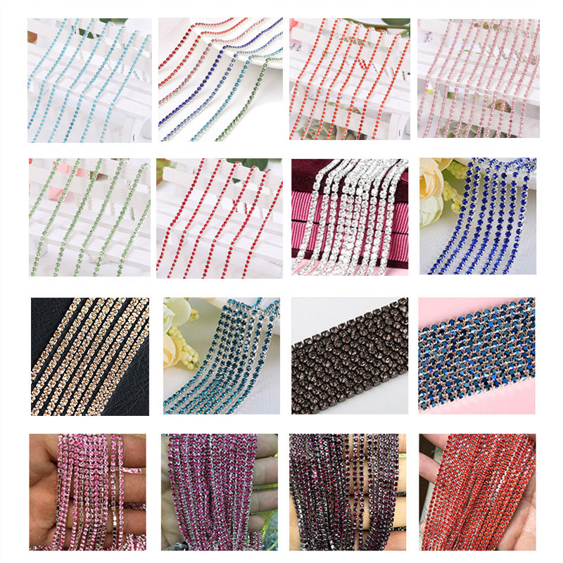 1 Yards Roll SS6 2mm Colorful Sew on Glass Rhinestone Cup Chain With Sliver  Base 4e6b7bed0cdf
